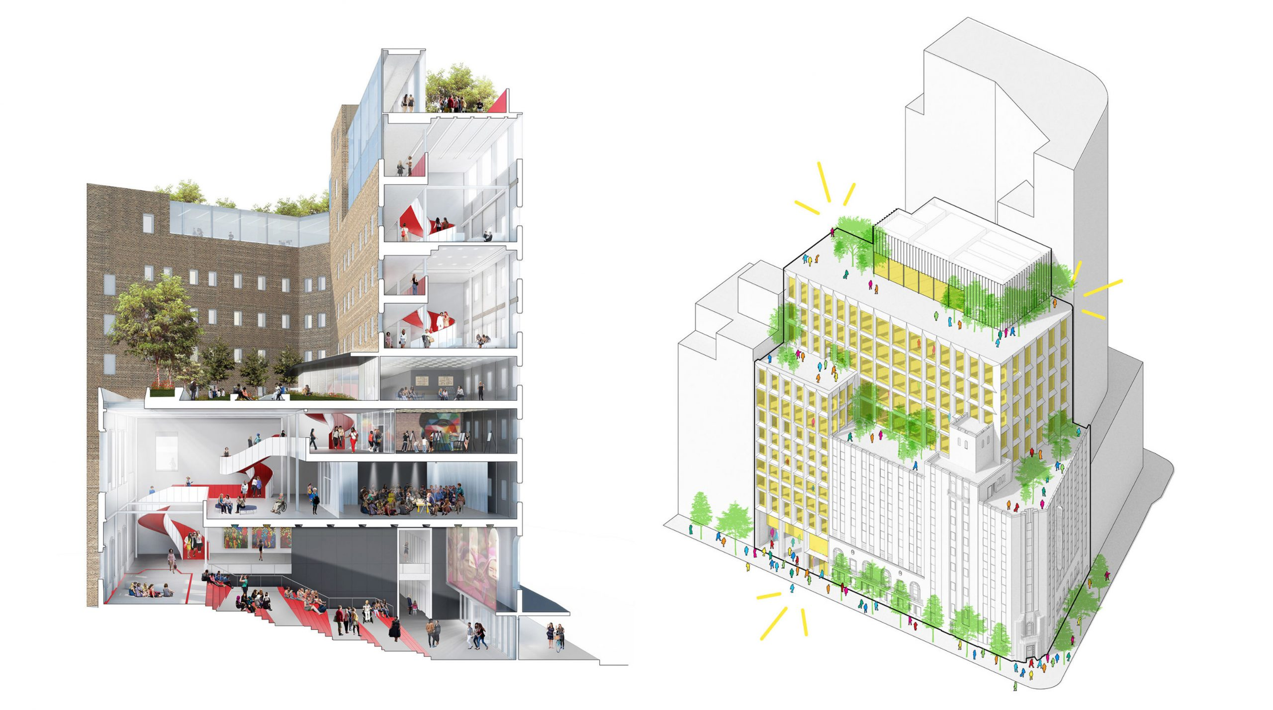 Conceptual section drawing and overhead axonometric drawing of The Women's Building.