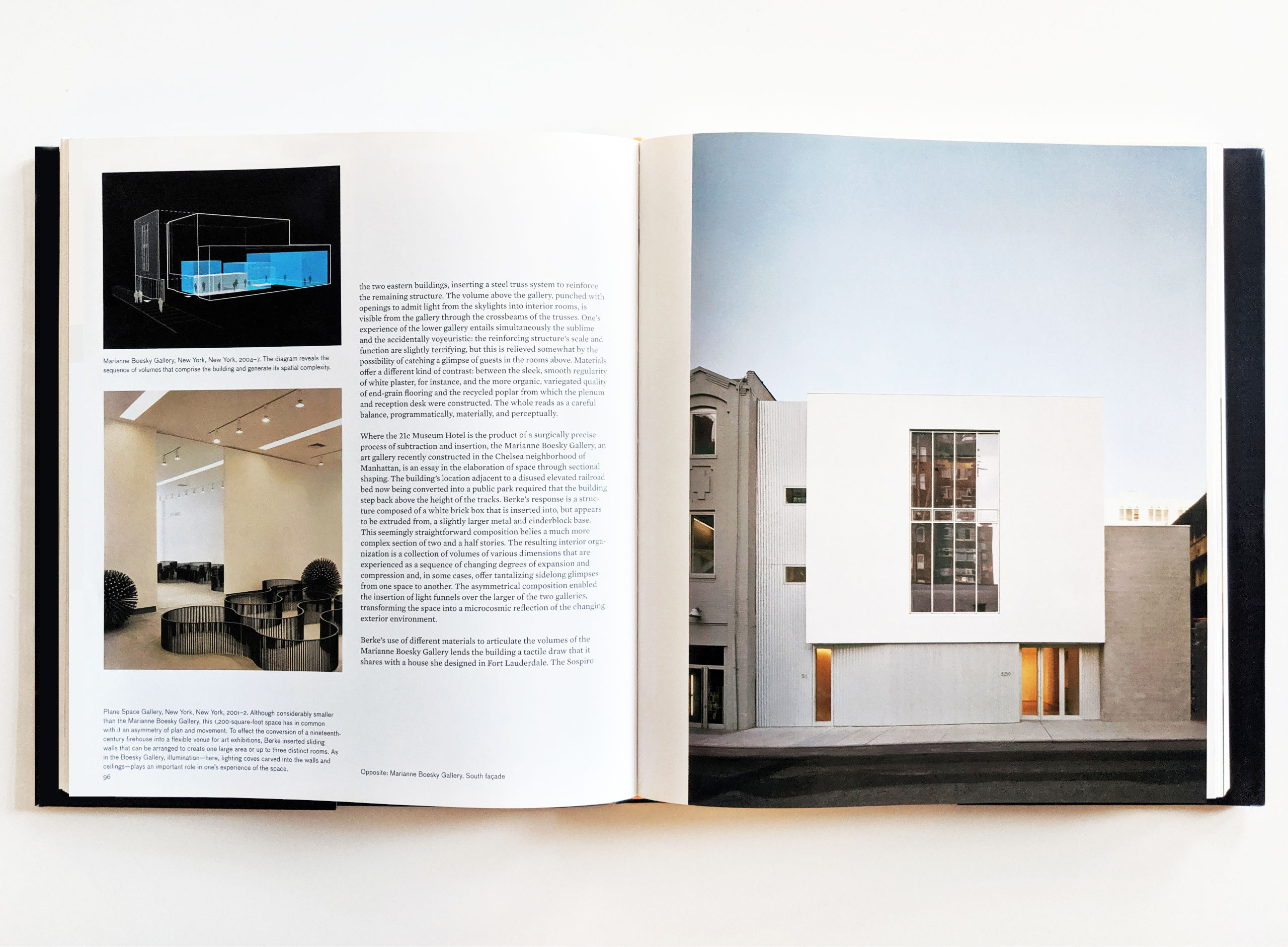 """Two-page spread of """"Here and Now"""" writing showing projects by Deborah Berke."""