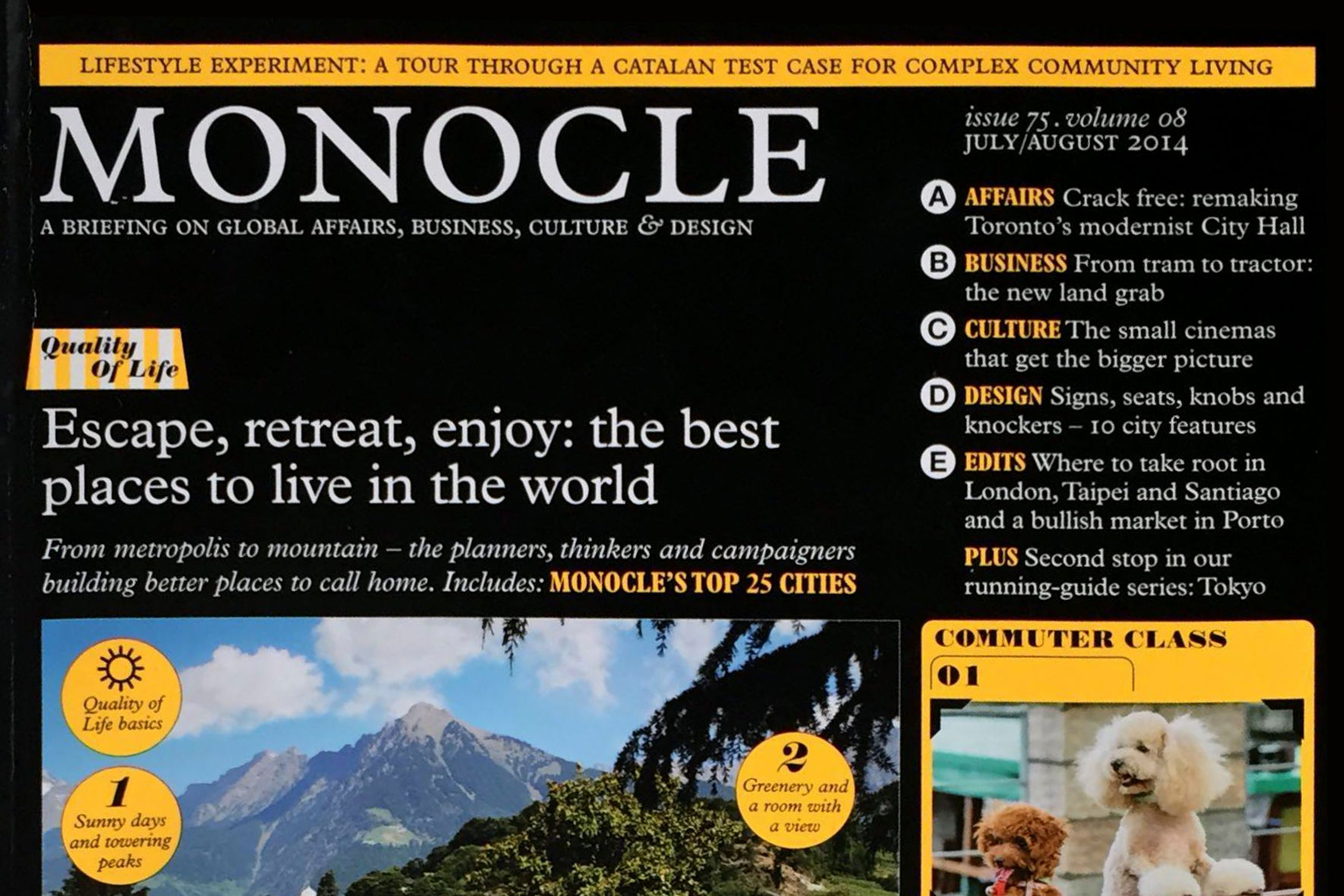 Cover of Monocle magazine, Issue 75, Voume 08, July/August 2014.