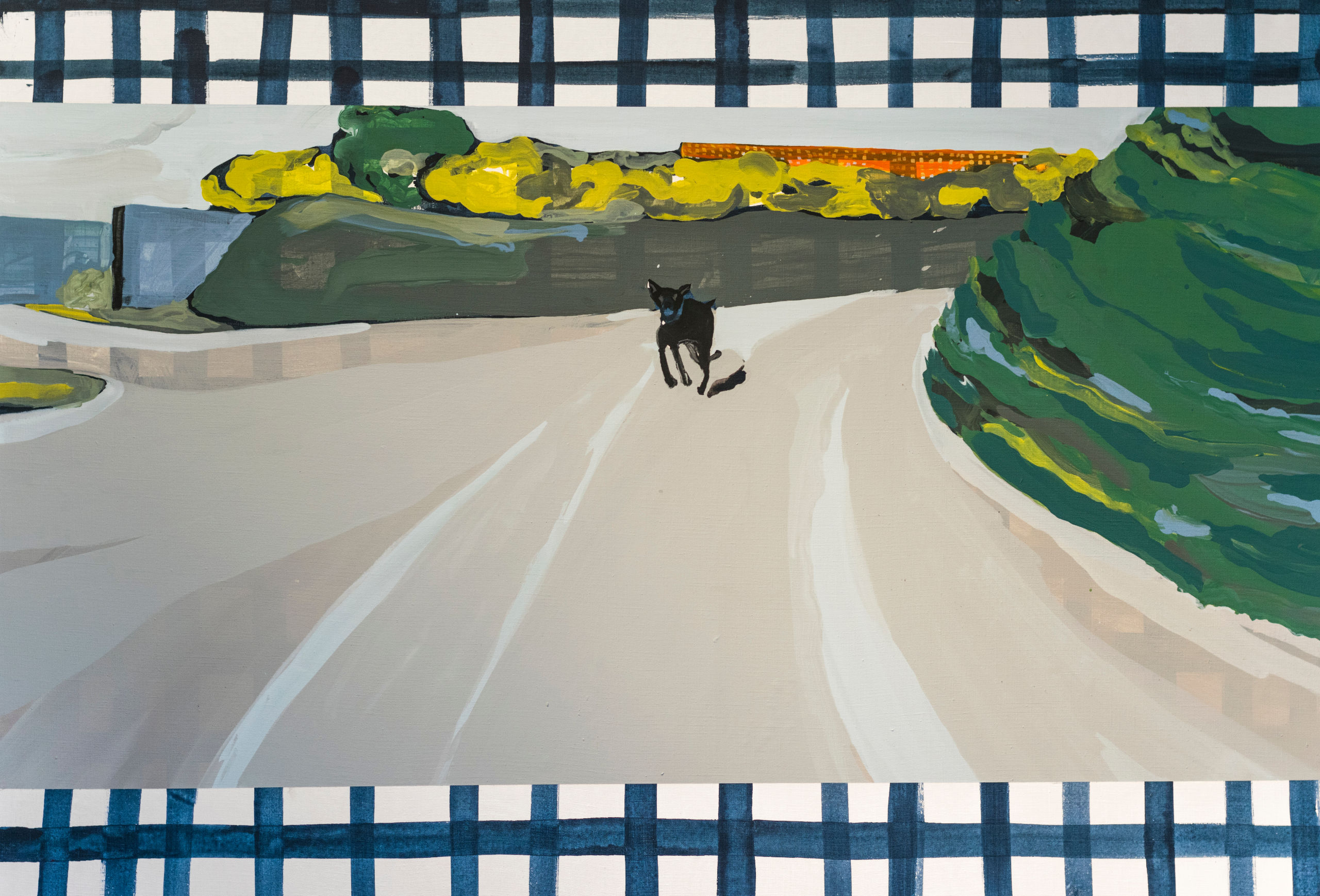 Painting of dog running down road with green vegetation on either side.