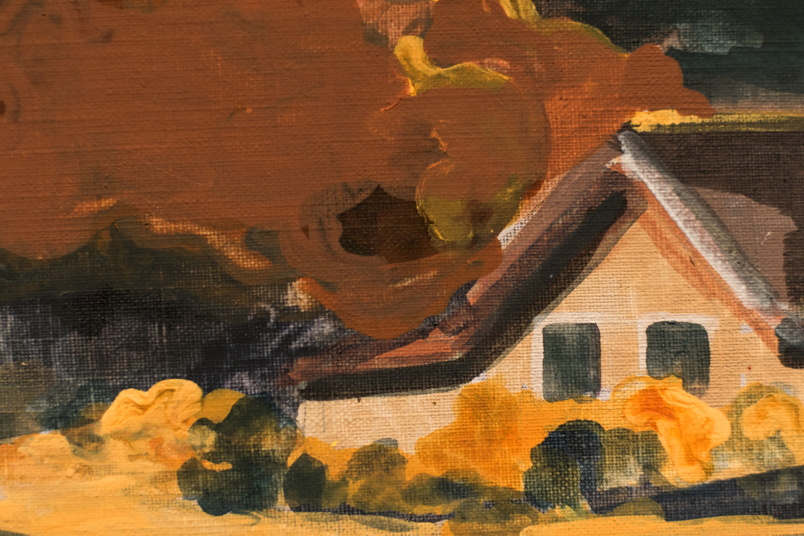 Rural house and landscape in earth tones, painting.