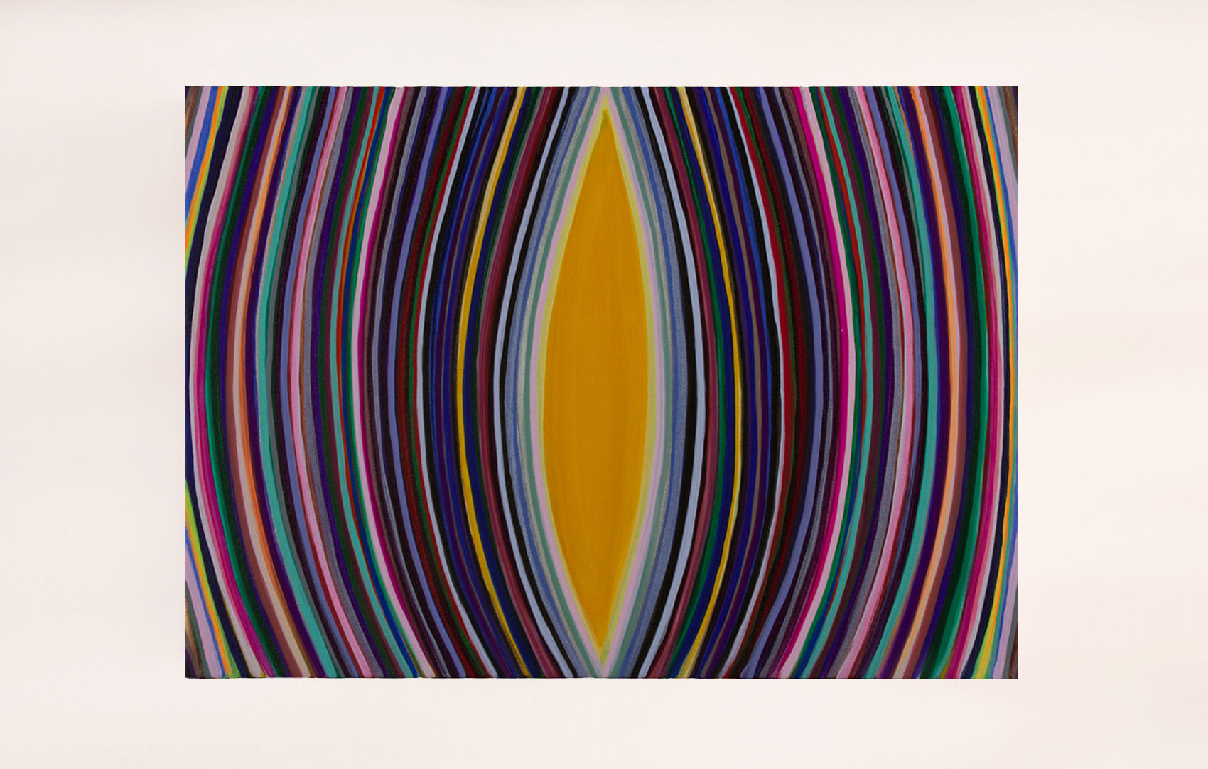 Abstract painting with multi-colored radiating lines.