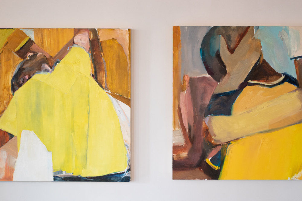 Abstract figure paintings in multiple colors.