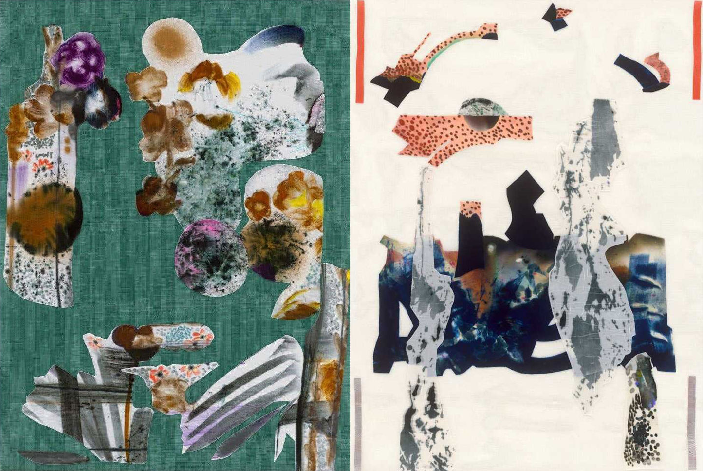 Two abstract collages by Travis Boyer.