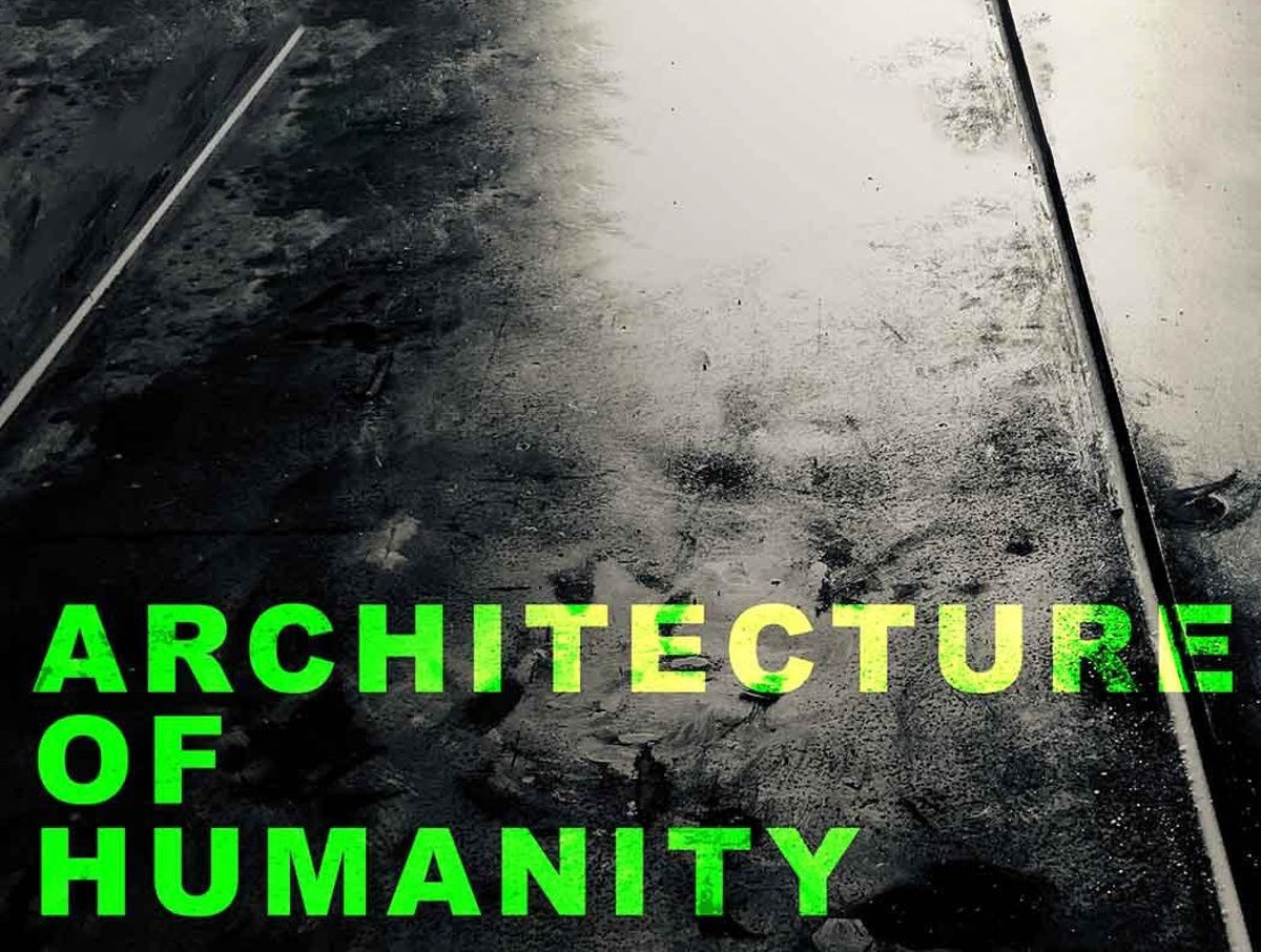 """Pavement texture with lecture text """"Architecture of Humanity"""" in green."""