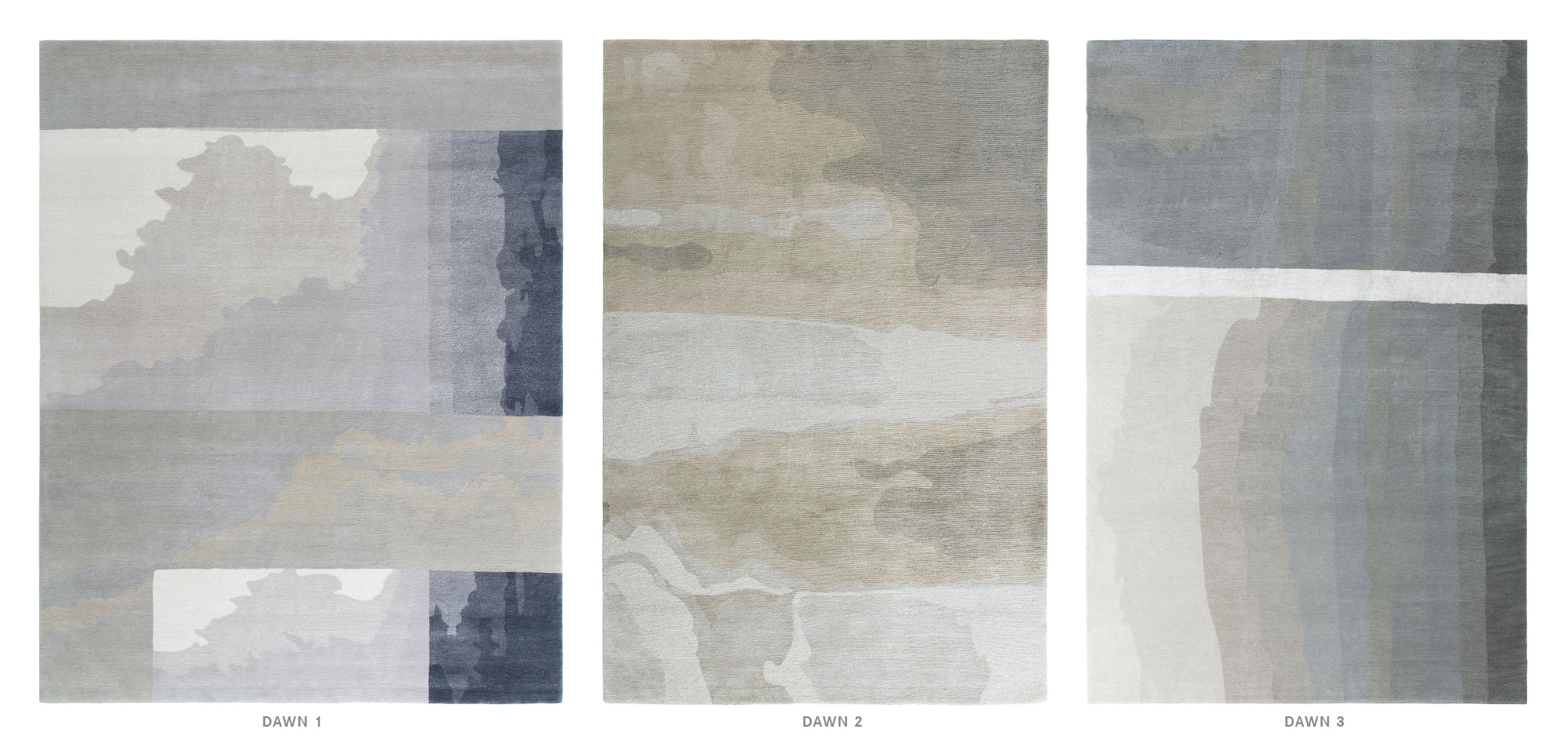 Dawn 1, 2 and 3 textile patterns.