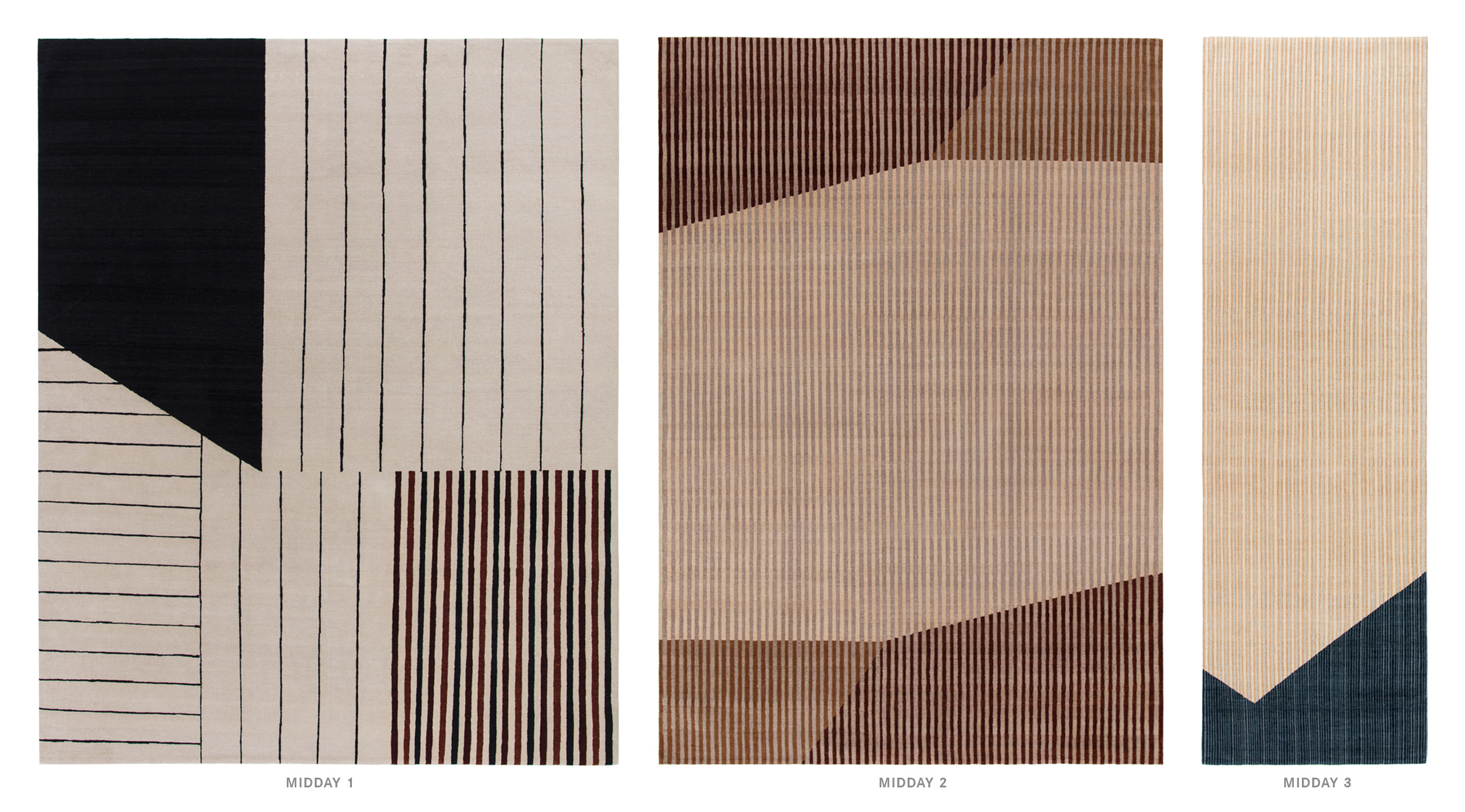 Midday 1, 2 and 3 textile patterns.