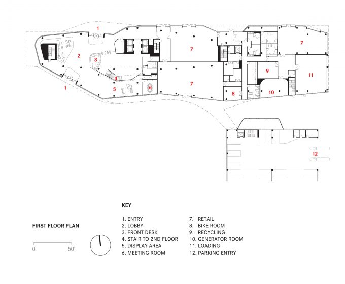 First floor plan, illustration.