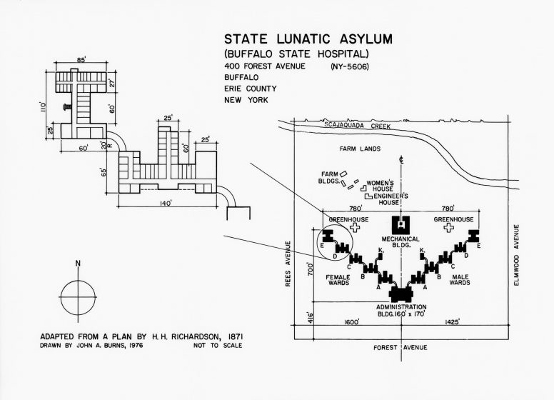 Diagrammatic plan of Buffalo State Hospital layout, illustration.