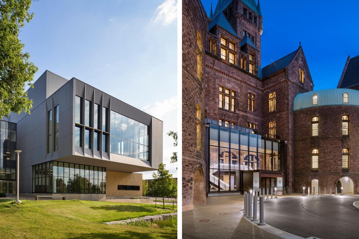 Side-by-side image pair of building exteriors of SUNY Fredonia and the Richardson Olmsted Campus projects.
