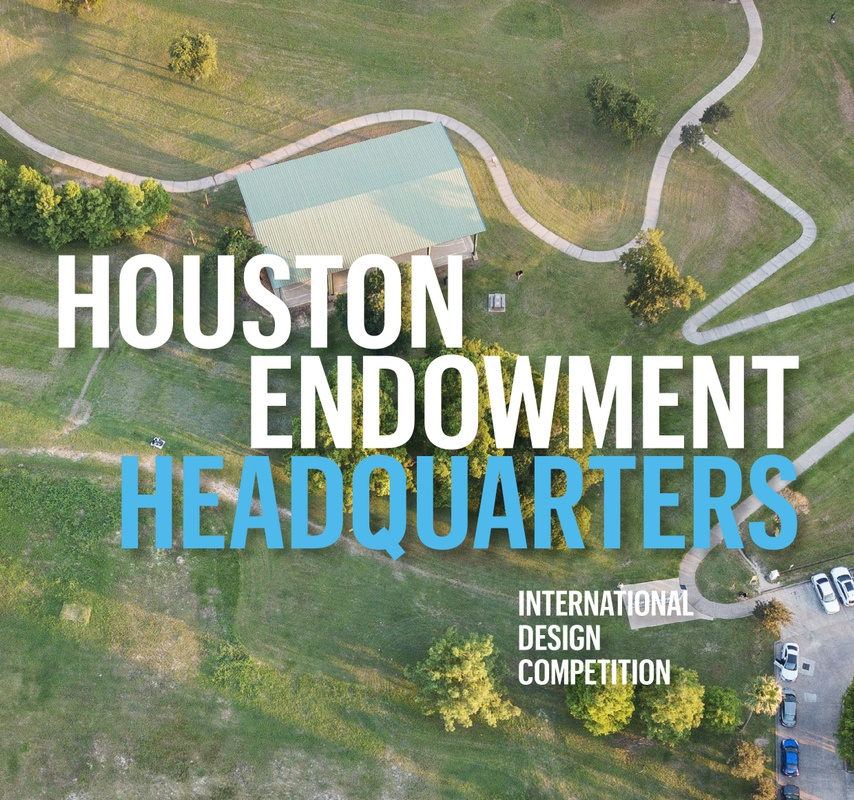 Aerial poster of Houston Endowment site with text overlay.
