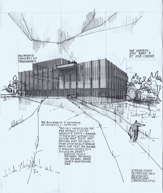 Conceptual sketch of building form with notes and graphic lines.