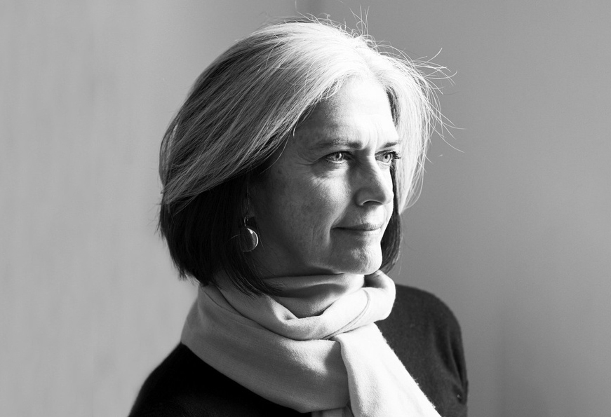 Portrait of Deborah Berke in black and white.
