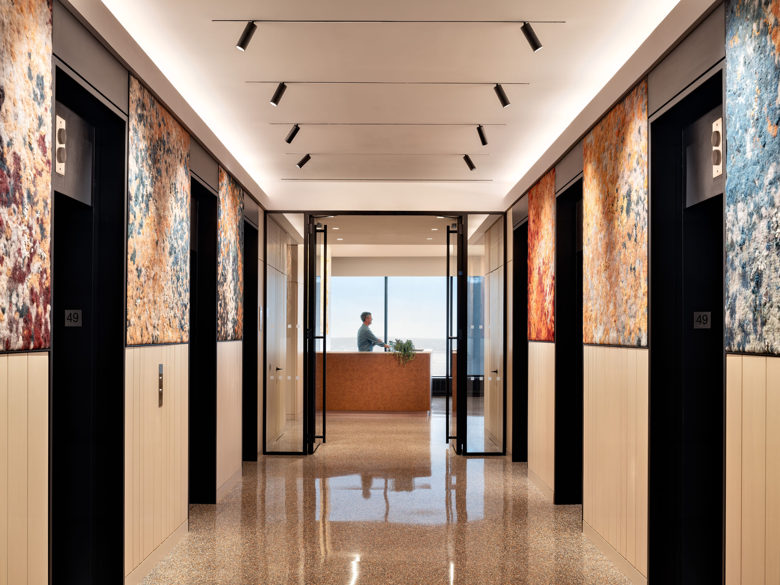 Wallace Foundation Elevator Bank with Art